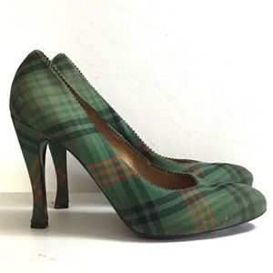 Bottega Venetia Plaid High Heels sz 38